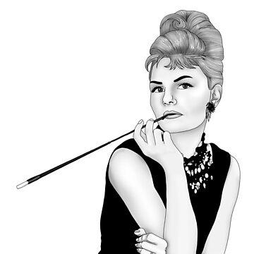 Jennifer Morrison as Audrey Hepburn (black & white) by CapnMarshmallow