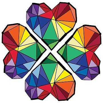rainbow color geometrical clover leaf by cheeckymonkey