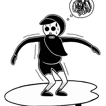 Skull Surfer feels  freezing cold because he's left his fullsuit wetsuit at home. by RYURAKUDO