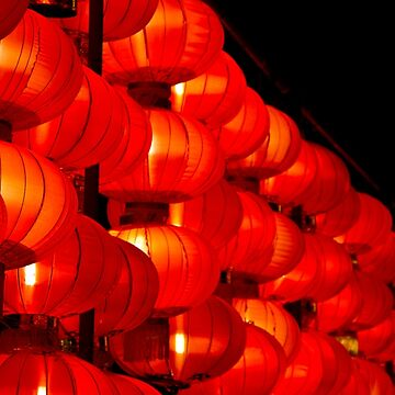 Chinese red lanterns in a row by FlatLandPrints