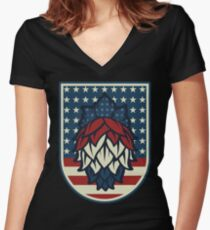 Patriotic Hops - Craft Beer American Flag Women's Fitted V-Neck T-Shirt