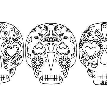 Emma Jones Art - Trio of Sugar Skulls by emmajonesart
