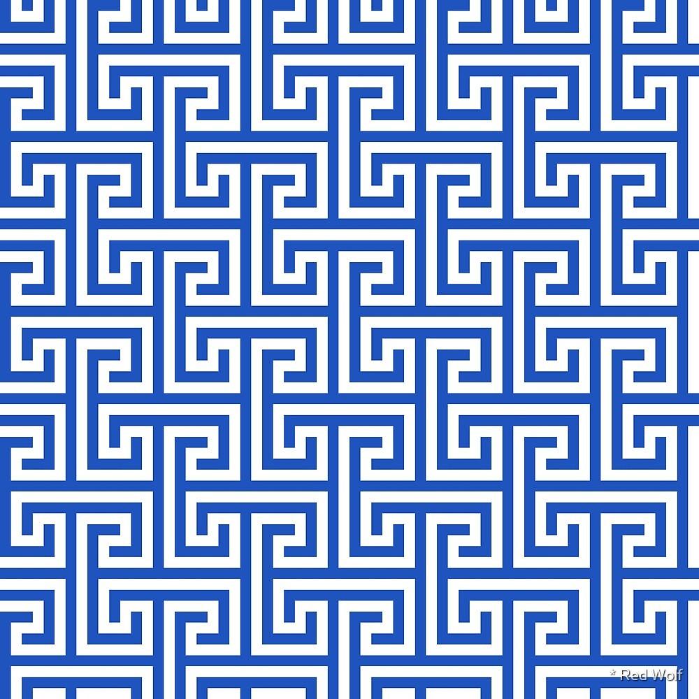 Geometric Pattern: Key Bridge Interlock Positive: Blue by * Red Wolf