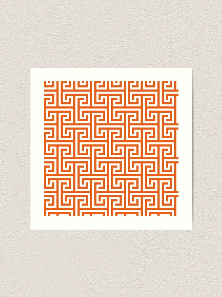 Alternate view of Geometric Pattern: Key Bridge Interlock Positive: Orange Art Print