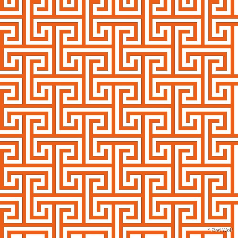 Geometric Pattern: Key Bridge Interlock Positive: Orange by * Red Wolf