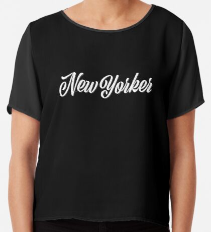 New Yorker Vintage Letter Chiffon Top