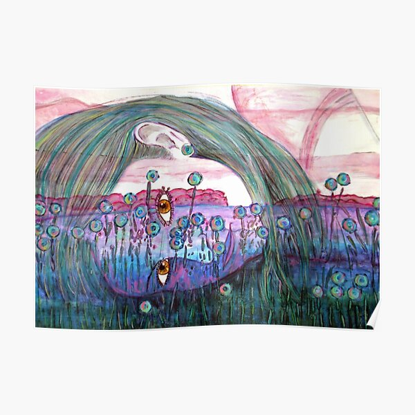Girl in a Field of Blue Flowers- Drawing Poster