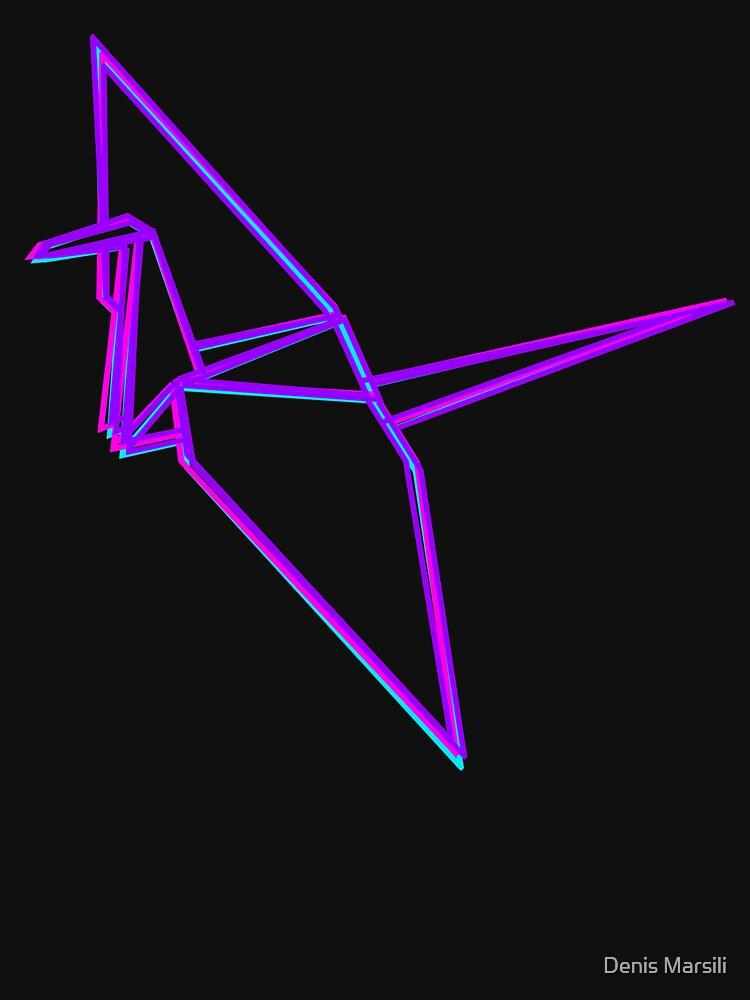 Origami Crane Neon Colors by ddtk