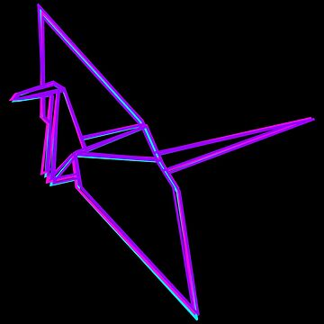 Origami Crane Neon Colors by ddtk