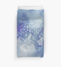 Watercolor Mountains and Stars Duvet Cover
