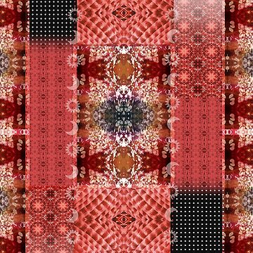 Boho Red Patchwork Sun and Moon Mixed Pattern by jocelynsart