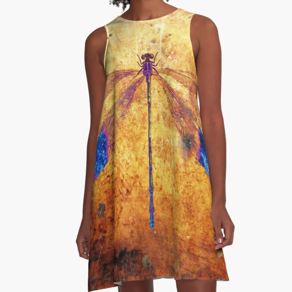 Dragonfly in Amber A-Line Dress