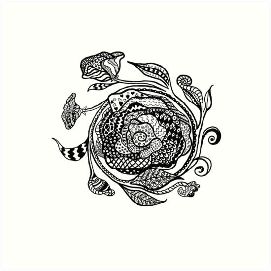 Zentangle Rose Medalion Art Prints By Barbaracleland Redbubble