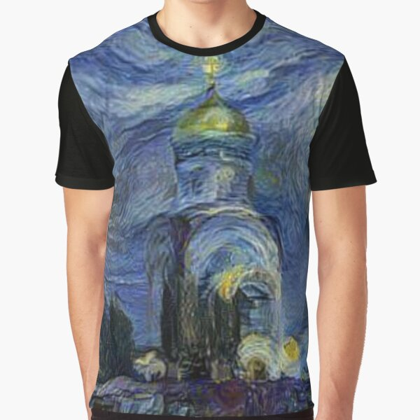 Jewish,  Painting, night, sky, church, stars, galaxies, universe, golden dome Graphic T-Shirt