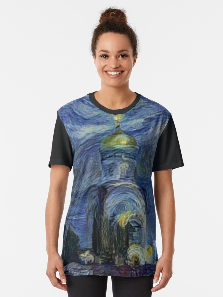 Alternate view of Painting, night, sky, church, stars, galaxies, universe, golden dome Graphic T-Shirt
