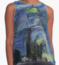 Painting, night, sky, church, stars, galaxies, universe, golden dome Contrast Tank