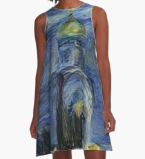 Painting, night, sky, church, stars, galaxies, universe, golden dome A-Line Dress