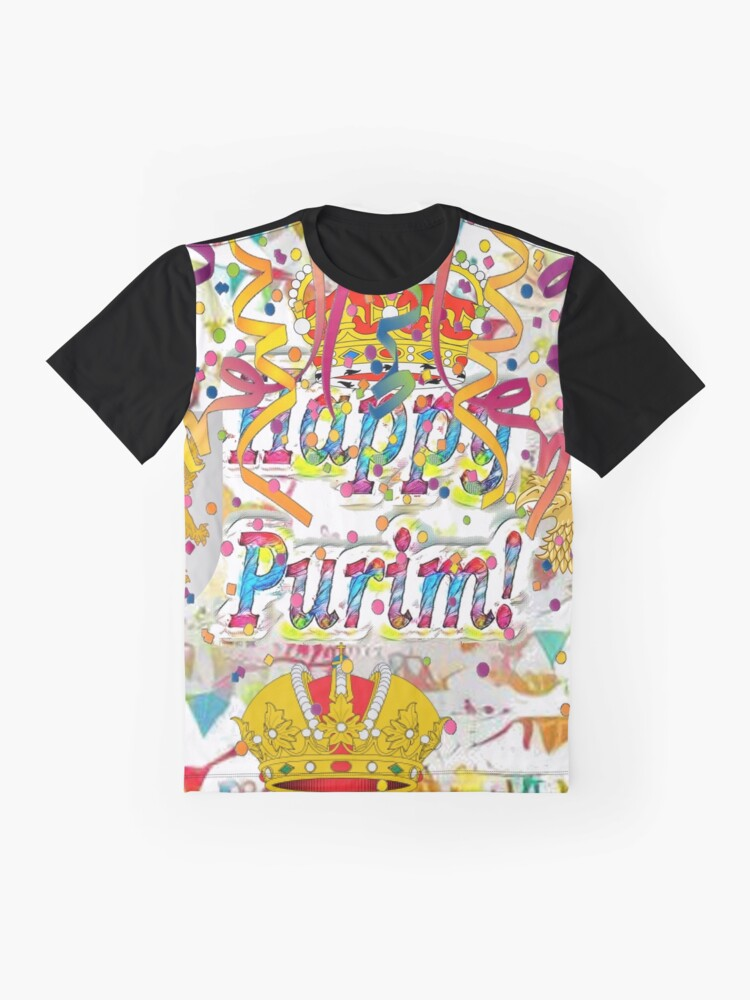 Alternate view of Happy Purim, happy, Purim, blessed, blest, blissful, blithe, cheerful, visual arts Graphic T-Shirt