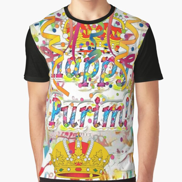 Happy Purim, happy, Purim, blessed, blest, blissful, blithe, cheerful, visual arts Graphic T-Shirt