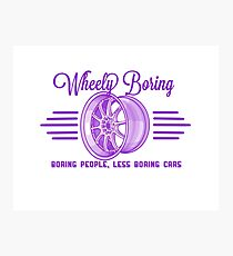 Purple boring people less boring cars wheely Boring logo  Photographic Print
