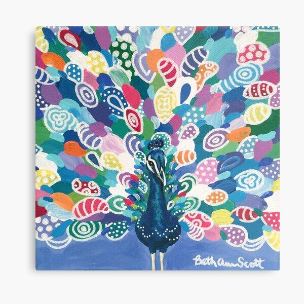 Rainbow Peacock Metal Print