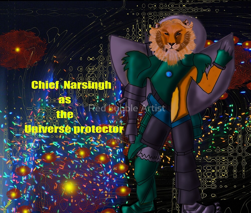 Chief Narsingh as the Universe protector by Nandika-Dutt