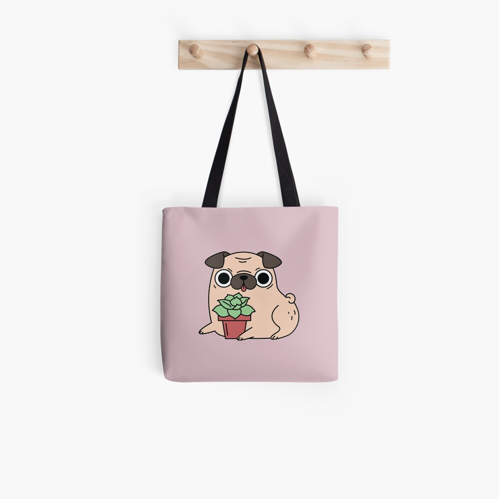 Pug and succulent plant  Tote Bag