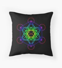Vibrant Metatron's Cube Sacred Geometry Floor Pillow