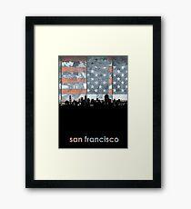 San francisco skyline flag Framed Print