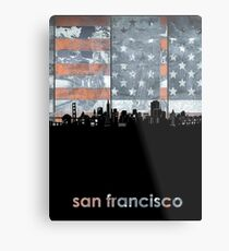 San francisco skyline flag Metal Print