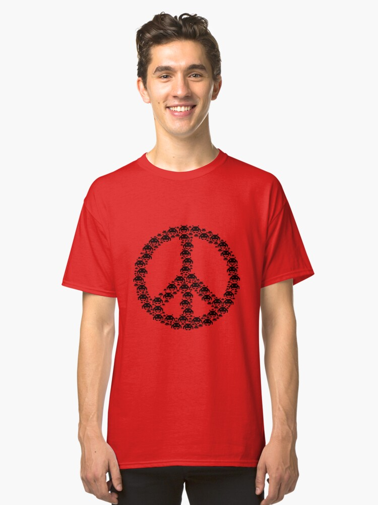 Space Invaders Peace Classic T-Shirt Front