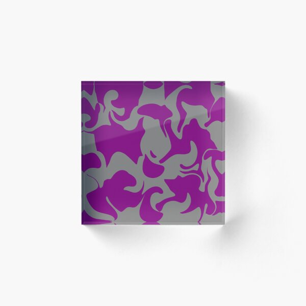 Purple and Grey Abstract Art Pattern Design Acrylic Block