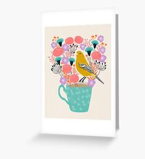 Bird and Flowers - Warbler by Andrea Lauren Greeting Card