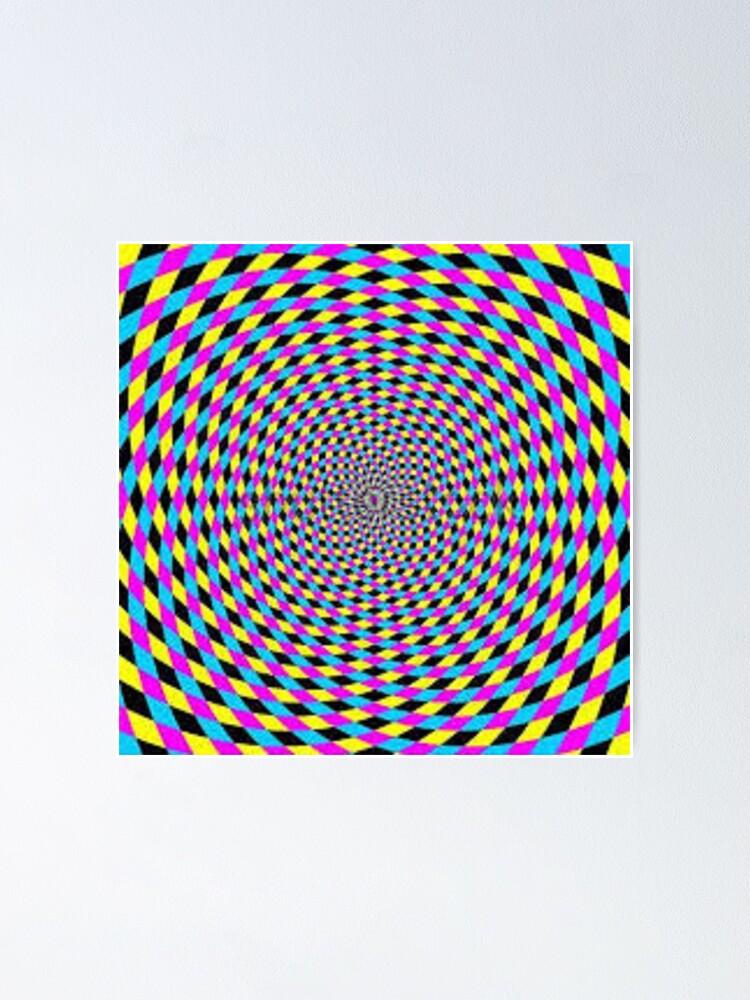 Alternate view of Colorful vortex spiral - hypnotic CMYK background, optical illusion Poster