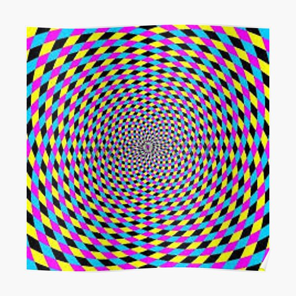 Colorful vortex spiral - hypnotic CMYK background, optical illusion Poster