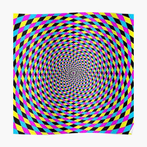 Colorful vortex spiral - hypnotic CMYK background, optical illusion Poster