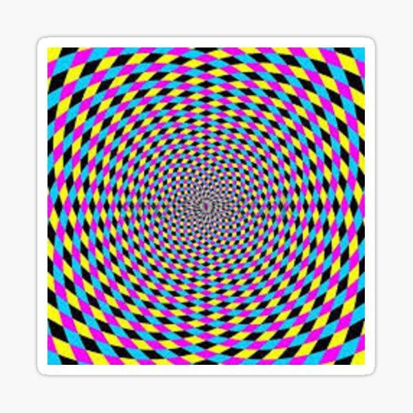 Colorful vortex spiral - hypnotic CMYK background, optical illusion Sticker