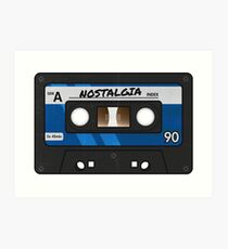 Cassette Tape - Blue Nostalgia Art Print