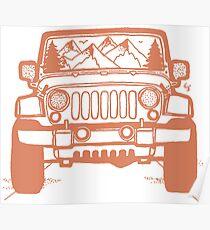 Póster Jeep Adventure (naranja)