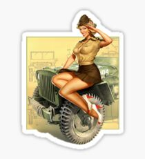 Pin-up WWII Willys MB Vintage Sticker
