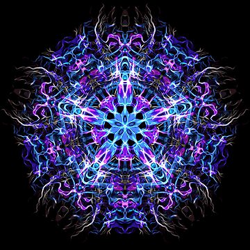 .Psychedelic Trippy Hexagon Star Indigo Mandala - Fractal Sacred Geometry by LeahMcNeir