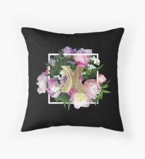 X Initial Monogram Floral Throw Pillow