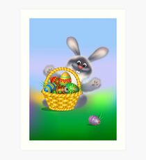 Easter Bunny with Egg Basket Art Print