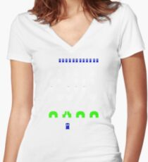 Space Invaders | Doctor Who Women's Fitted V-Neck T-Shirt