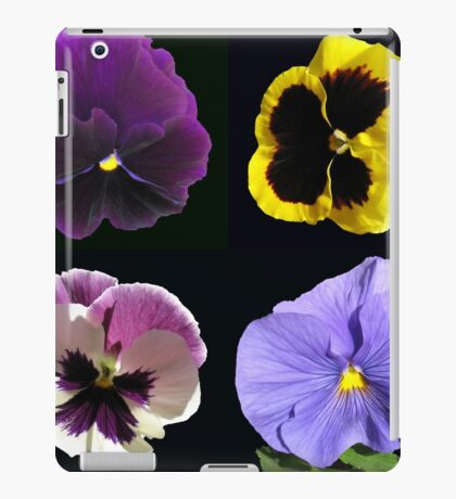Stiefmütterchen-Collage - schwarzer Hintergrund iPad-Hülle & Klebefolie