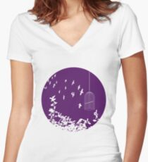 Flying Free 2 Purple Large Women's Fitted V-Neck T-Shirt