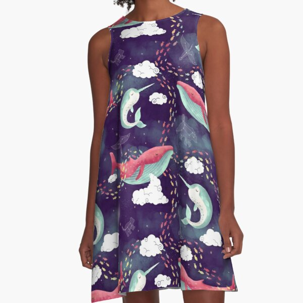 Dream Whales A-Line Dress