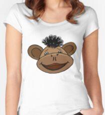 cartoon style monkey head Women's Fitted Scoop T-Shirt