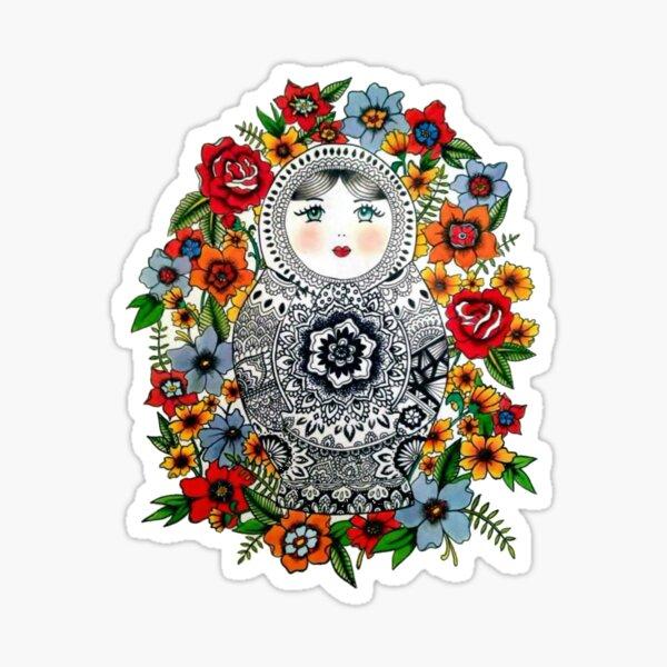 Matryoshka Russian Nesting Doll Wooden Babushka Puppe Poppy Flower Flowers 5 pcs