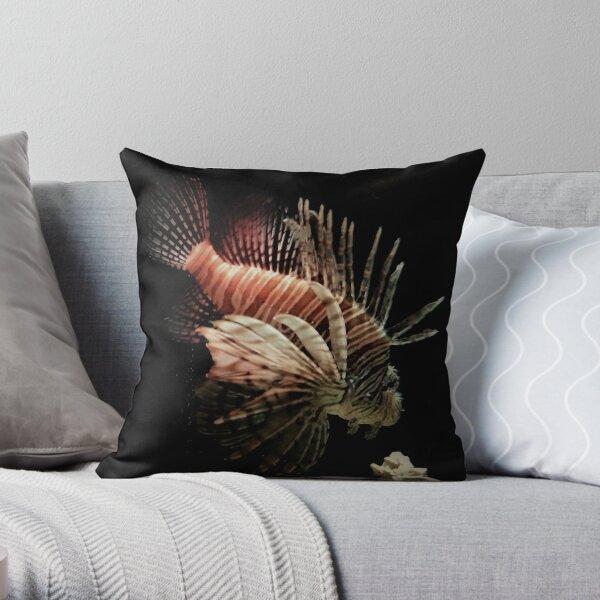 Lionfish Swimming at Night  Throw Pillow